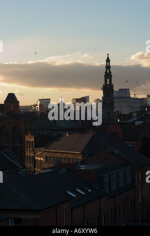 Spire of Holy Trinity Church Boar Lane against city skyline from 'New York Street' Leeds - Stock Photo