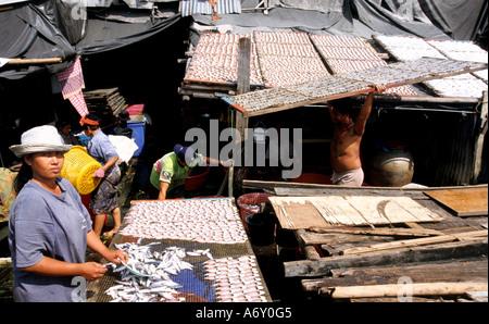 Bangkok Drying fish Thai  sun Chao Praya River - Stock Photo