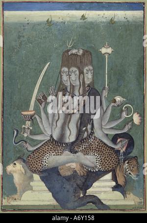 The Five Faced Shiva. India, mid 18th century. - Stock Photo