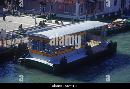 Accademia vaporetto stop on the Grand Canal of Venice Italy - Stock Photo