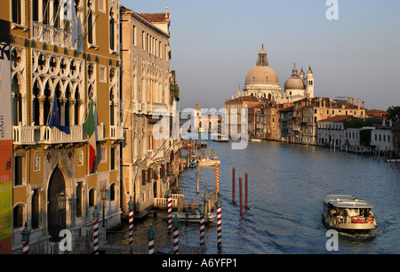 The Santa Maria della Salute cathedral and the Grand Canal viewed from the Academia Bridge in Venice Italy - Stock Photo