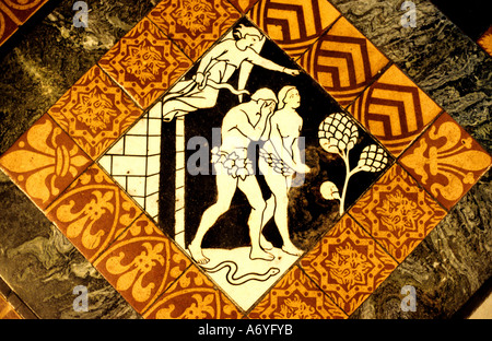 Adam and Eve Gloucester Cathedral King Henry VIII England devil demon fiend - Stock Photo
