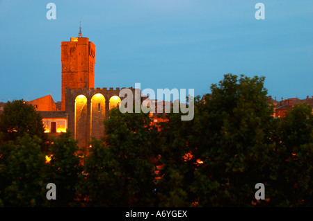 The black basalt lava stone cathedral. Agde town. Languedoc. France. Europe. St Etienne cathedral from the 12 century. - Stock Photo