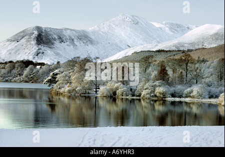 Derwent Water in winter with a snow covered Causey Pike in the Background. - Stock Photo