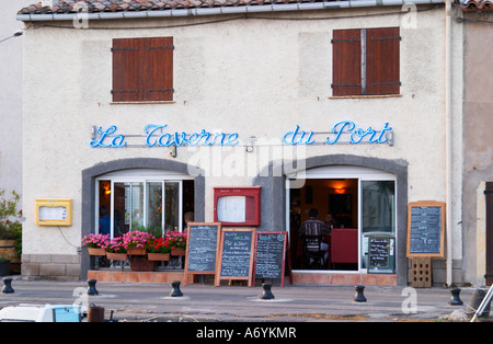 La Taverne du Port with many chalkboards with menus. Marseillan. Languedoc. France. Europe. - Stock Photo