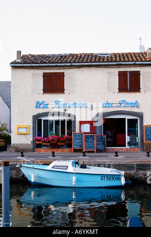 The old harbour. La Taverne du Port with many chalkboards with menus. Marseillan. Languedoc. France. Europe. - Stock Photo