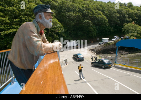 Model of an old man on the King Harry ferry crossing the River Fal from the Roseland Peninsular to Feock, Cornwall. - Stock Photo