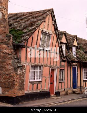 Timbered houses Lavenham Suffolk England United Kingdom Europe - Stock Photo