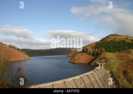 The Clywedog Dam and reservoir near Llanidloes, Mid Wales, Powys - Stock Photo