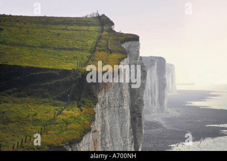 Chalk cliffs from clifftop path Ault Picardy France Europe - Stock Photo