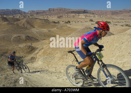 Competitiors in the Mount Sodom International Mountain Bike Race Dead Sea area Israel Middle East - Stock Photo