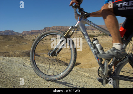 Close up of front wheel and frame of mountain bicycle in the Mount Sodom International Mountain Bike Race Dead Sea - Stock Photo