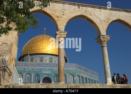 Tourists at the Dome of the Rock Old City UNESCO World Heritage Site Jerusalem Israel Middle East - Stock Photo