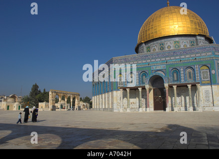 Muslim women and child at the Dome of the Rock Old City UNESCO World Heritage Site Jerusalem Israel Middle East - Stock Photo