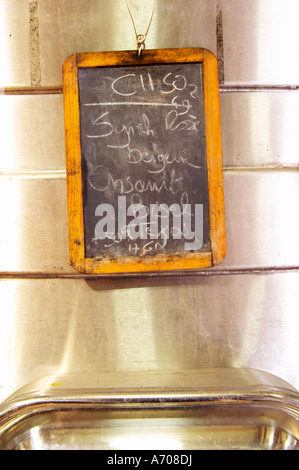 Syrah, Cinsault. Chateau Grand Moulin. In Lezignan-Corbieres. Les Corbieres. Languedoc. Sign on tank. Stainless - Stock Photo