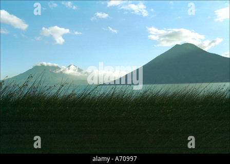 View across Lake Atitlan towards Volcan San Pedro from La Casa del Mundo - Stock Photo