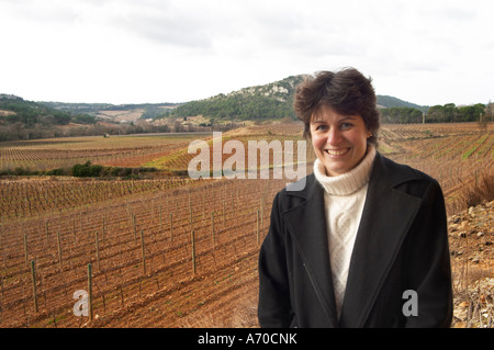 Christine Simon Clos Bagatelle St Chinian. Languedoc. Owner winemaker. The vineyard. France. Europe. - Stock Photo