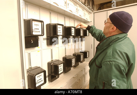 Building of switchgears in a school, Installations of the electric meters. - Stock Photo