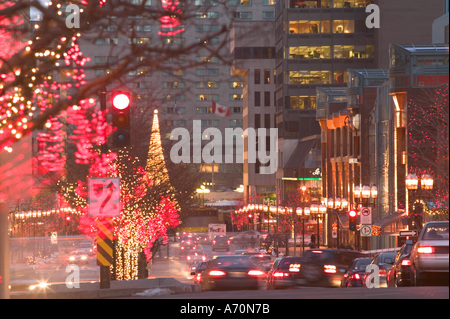 canada quebec montreal avenue mcgill college with christmas decorations evening stock - College Christmas Decorations