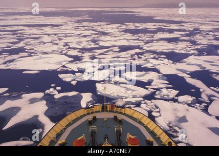 NA, Canada, Canadian Arctic, Baffin Island Ice breaking, Bellot Strait P.R. icebreaker, (MR) - Stock Photo
