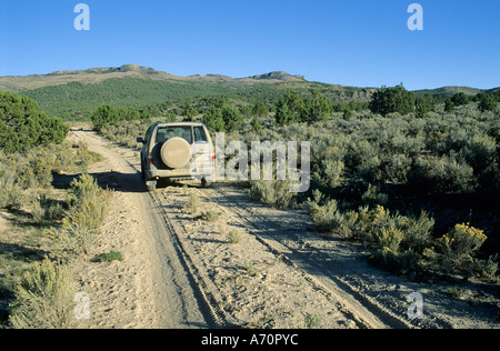 Vehicle on dirt road, historic California Trail, Goose Creek Valley, Nevada, USA - Stock Photo