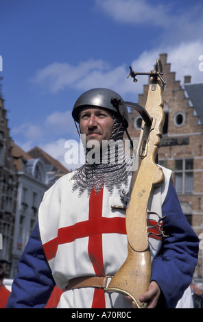 Europe, Belgium, Bruges, Ascension Day parade; Holy Day; local in period costume - Stock Photo