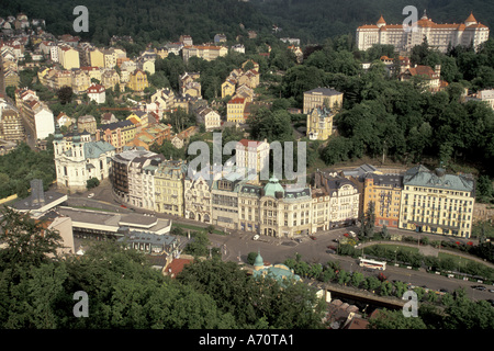 Europe, Czech Republic, West Bohemia, Karlovy Vary (Carlsbad) Spa town view from Stags Leap (Jeleni Skok) - Stock Photo