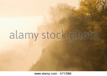 Fog on the Scarborough Bluffs in Bluffers Park located in the Scarborough area of Toronto Ontario Canada - Stock Photo