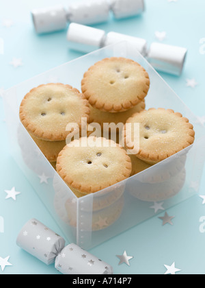 Mince pies and silver crackers and star decorations - high end Hasselblad 61mb digital image - Stock Photo