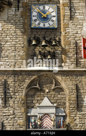 Heritage clock chimes carillon and puppets of Dutch princes and princesses on Gothic Stadhuis Town Hall in Gouda - Stock Photo