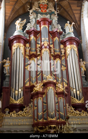 Heritage organ in Protestant Gothic Great Church of St Bavo in Haarlem North Holland - Stock Photo