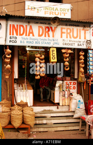 Typical Indian shop selling dry fruit in the state of Jammu and Kashmir, India - Stock Photo