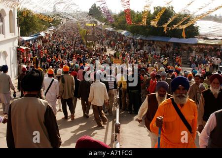 Group of Sikhs joined at Anand Pur Sahib guruwara on the occasion of Baisakhi, Punjab India
