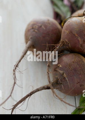 Beetroot on white washed wood - high end Hasselblad 61mb digital image - Stock Photo