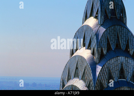 close-up aerial view of the Chrysler Building crown and spire in Midtown Manhattan New York City USA