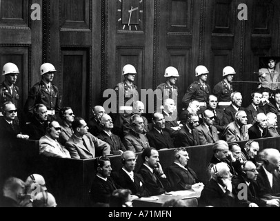 justice, processes, Nuremberg Trials, process against main war criminals, 1945/1946, dock, 1946, 1940s, 40s, Hermann - Stock Photo