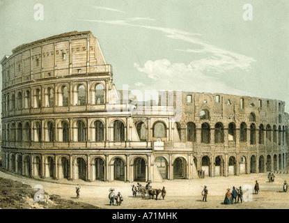 geography/travel, Italy, Rome, Colosseum, exterior view, engraving, 19th century, Flavian Amphitheatre, coliseum, - Stock Photo