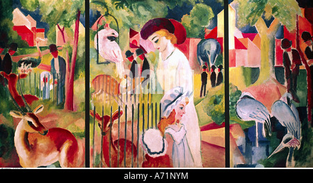 'fine arts, Macke, August, (1887 - 1914), painting, 'Grosser Zoologischer Garten', ('great zoological garden'), 1913, oil on