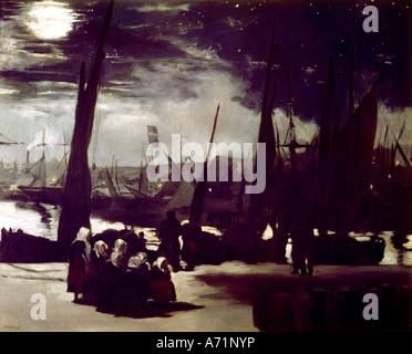 'fine arts, Manet, Edouard, (1832 - 1883), painting, 'Le Port de Boulogne Clair de Lune', ('Boulogne harbour at - Stock Photo