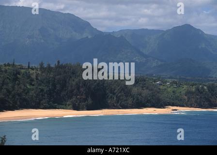 Secret Beach viewed from Kilauea Point National Wildlife Reserve Kauai Hawaii - Stock Photo