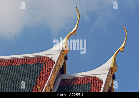 Roof fragment of Amphorn Phimok Prasat pavilion in Grand Palace. Bangkok, Thailand. - Stock Photo