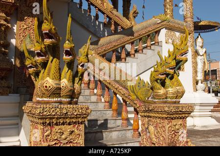 Naga staircase. Wat Bupparam, Chiang Mai, Thailand. - Stock Photo