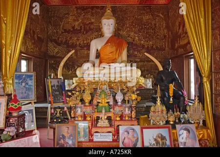 Main Buddha image in Wat Bupparam. Chiang Mai, Thailand. - Stock Photo