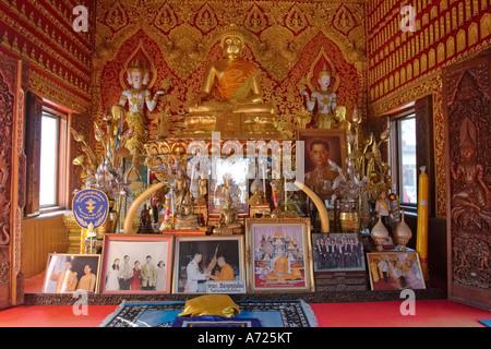 Altar in Wat Bupparam, Chiang Mai, Thailand. - Stock Photo