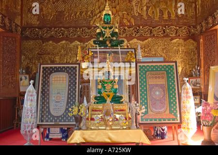 Emerald Buddha images in Wat Bupparam. Chiang Mai, Thailand. - Stock Photo