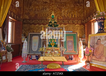 Altar with two jade Buddha images in Wat Bupparam. Chiang Mai, Thailand. - Stock Photo