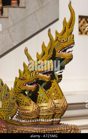 Naga figures. Staircase decoration in Wat Bupparam. Chiang Mai, Thailand. - Stock Photo