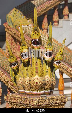 Naga figures guarding the entrance to the Wat Bupparam. Chiang Mai, Thailand. - Stock Photo