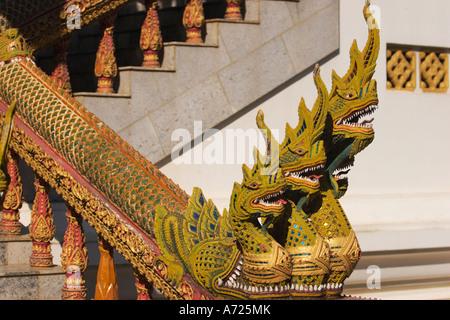 Naga stairs. Wat Bupparam, Chiang Mai, Thailand. - Stock Photo