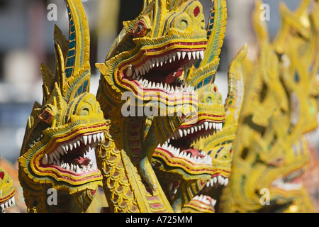 Naga heads. Fragment of staircase decoration in Wat Bupparam. Chiang Mai, Thailand. - Stock Photo